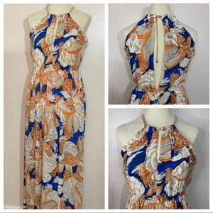 Hommage maxi orange feather dress